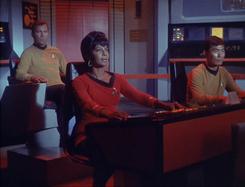 "indigobluerose:  So at one point Captain Kirk has to send the current navigator off to do something in another part of the ship and he says, ""Lieutenant Uhura, take over navigation,"" and she just does and it is no big thing.  So to anyone out there who ever said that Uhura was only a glorified phone operator, SHE CAN TOTALLY FLY THE SHIP SO THERE. (image from TrekCore)"