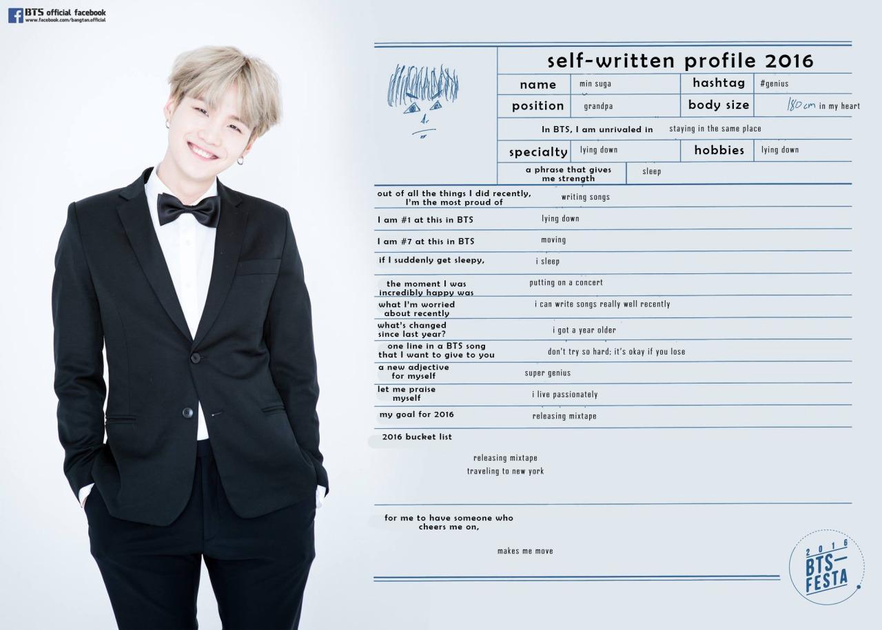 [TRANS] 2016 BTS FESTA : BTS Self-written Profiles Ver. 3