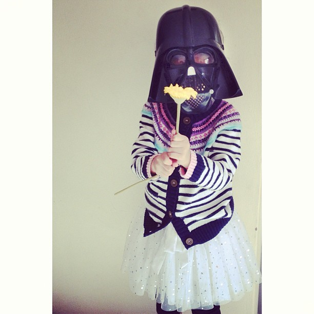 Princess Vader is getting ready for her ballet classes.