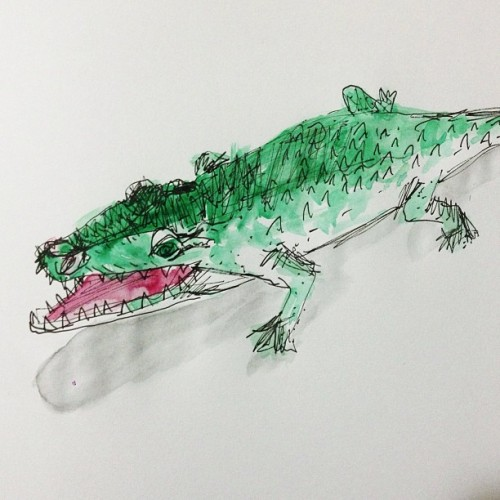 Day 129, my son's rubber #alligator. #createdaily #watercolor #sketch #sharpteeth