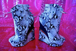 CUSTOM Spiked Platform Snake Skin Killer by MoonShineApparel on We Heart It - http://weheartit.com/entry/50007882/via/MoonShineApparel