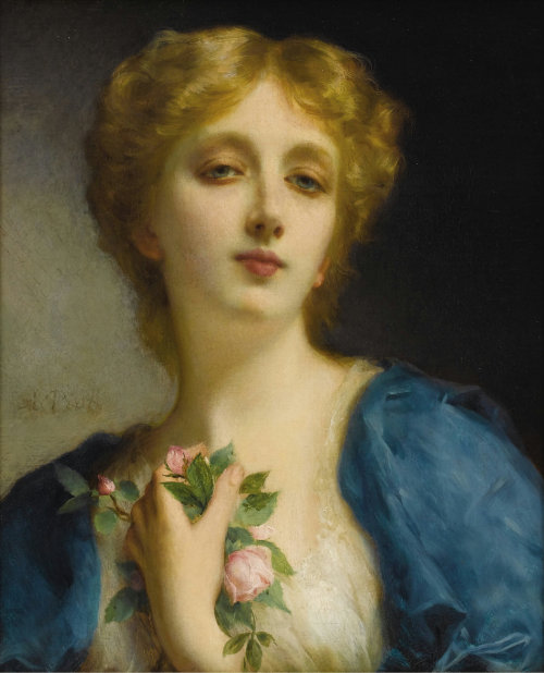 books0977:  The Secret Admirer. Etienne Adolphe Piot (French,1850-1910). Oil on canvas. As a painter of the female face, Piot had few equals. His idealized depiction of women and girls are full of sentimentality yet possess a technical skill that is of the highest level. Piot was a student of Leon Cogniet, at his Paris atelier, in the late 1870's. Cogniet instilled within the young artist a love for the human form.