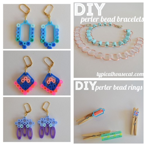 DIY Perler Bead Earrings, Bracelets and Single/Double Rings from Typical House Cat. For lots more cute Perler Bead DIYs go here: unicornhatparty.com/tagged/perler-beads Earrings Tutorial here. Bracelet Tutorial here. Single and Double Ring Tutorial here.