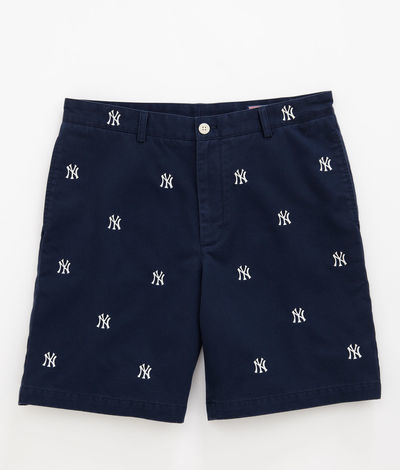 YANKEES EMBROIDERED CLUB SHORTS BY VINEYARD VINES The embroidery-on-shorts trend is in full swing and you know what? When it's done right it's pretty fresh. We've seen whales and skulls, nautical flags and golf clubs, but the iconic Yankees NY emblem is a good look. The cotton twill shorts, made by Vinyard Vines, are so on-point that you could go gray T-shirt or white button-up and win either way. They're right over HERE for $68.99 so you'll have money left over for Yankees tickets.
