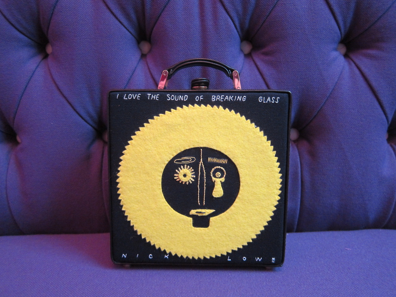 "Nick Lowe limited edition 7"" clutch by Olympia Le-Tan, available soon exclusively at olympialetan.com."