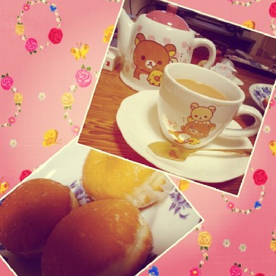 #breakfast #donuts and #coffee #rilakkuma