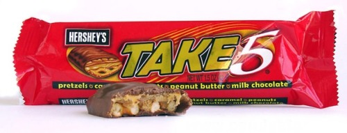mttnc:  Take 5's are, in my opinion, the perfect candy bar.   They perfected just the right combination of sweet and salty with the pleasant surprise of a crunchy pretzel.   What sets Take 5's apart is that EVERY. SINGLE. PRETZEL. IS. UNBROKEN. PERFECT. AND FRESH! (I've done extensive personal research in this area)  I don't know how they do it but every pretzel is perfect and delicious. God bless that candy bar and the people who make it.  YES. Caramelly, pretzelly, chocolatey goodness.