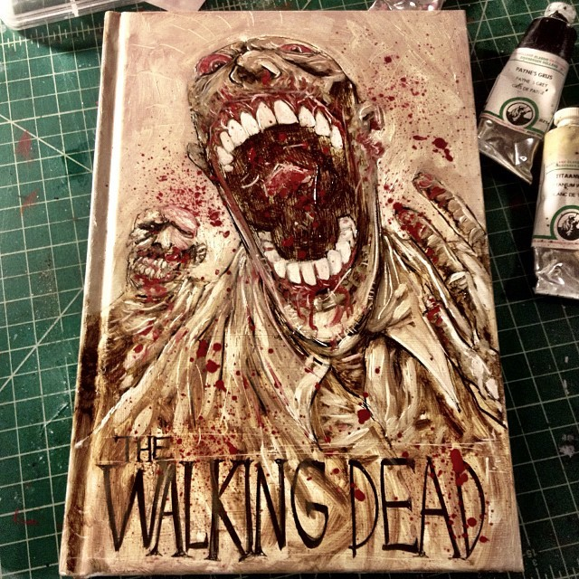 All finished, original oil painted cover to #thewalkingdead volume 1 hardcover. Up now on 78SQUID, link in Instagram bio. No other book like it. I have a few other hardcovers I'd love to do unique covers for too, leaning as I go. #oilpaint #art #horror #zombie #cute #ootd #halloween #kanye #justinbeiber #ebola #vanillaISIS #geek #falafelvengeance #sugarfoxnightmare #gherkingangsta #wholetthegodsout #bignaturals #qantassuckarse