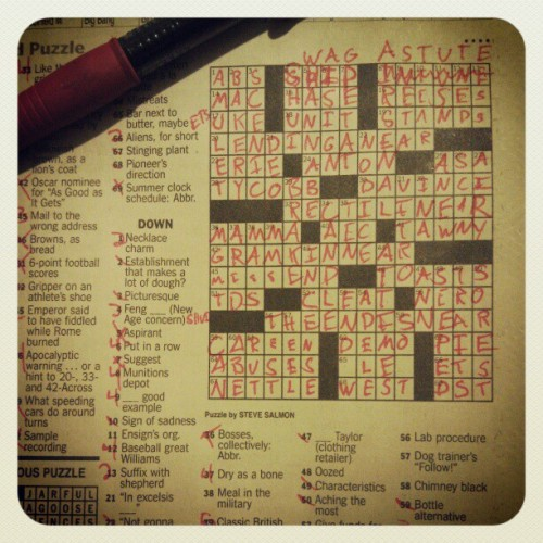 Can't sleep?  Do a crossword puzzle!