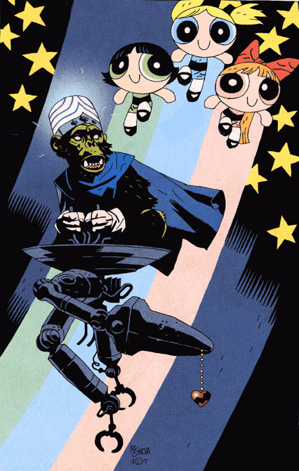 artblogcity:  Powerpuff Girls-Mike Mignola  THERE IS ONLY ONE. MEANING ME. MEANING I! MOOOOOOJO JOJO!