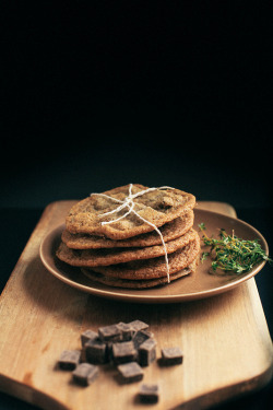 bakeddd:  thyme and salted chocolate chunk cookies click here for recipe