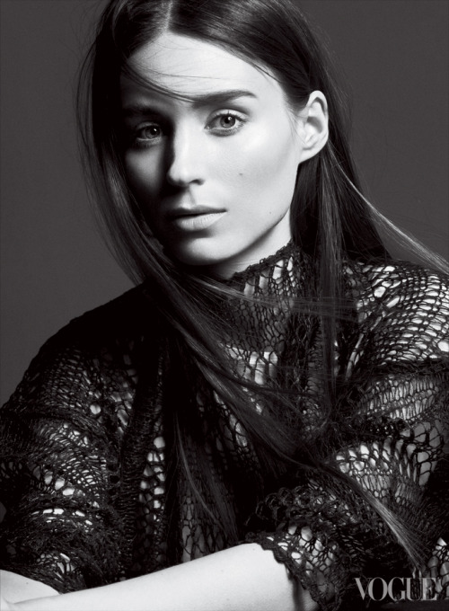 HARD PRESS. VOGUE FEBRUARY 2013.  Rooney Mara in our SS13 Black Coated Netting Sweater from the Runway.  Photographed by David Sims.  Collection hits stores soon.