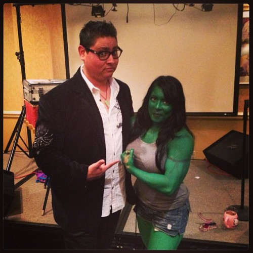 My assistant at Fal-Con Mini she-hulk! (at Holiday Inn)