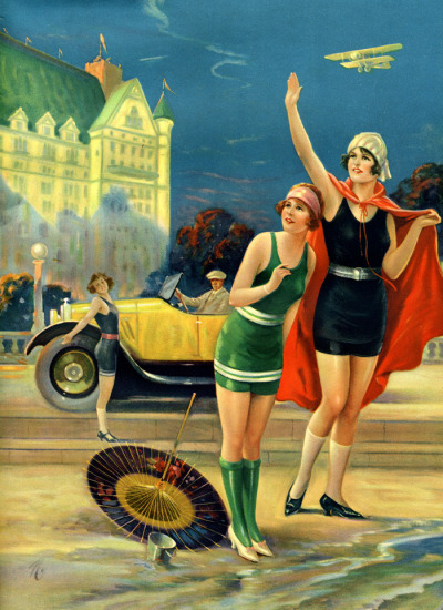 maudelynn:   Cars, Planes and the Beach! late 1920s pin up illustration by Charles Relyea
