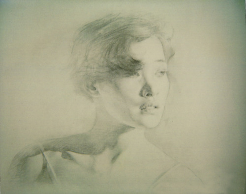 Joan Chen. Sketch by her brother Chase Chen, during the shooting of David Lynch's Twin Peaks