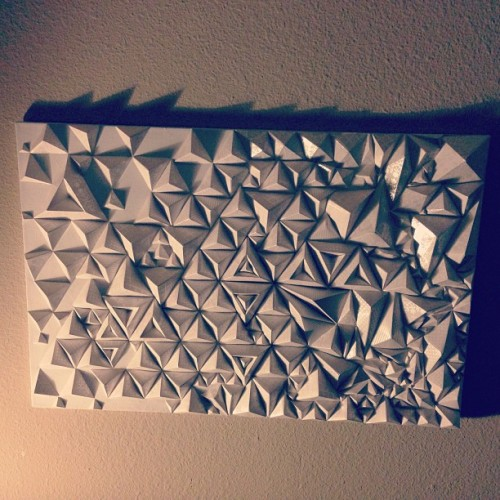 teamorigami:  The whole thing #origami #wallart #pyramid #geometric #opart by ryanflip http://instagr.am/p/ULHY92rpq-/
