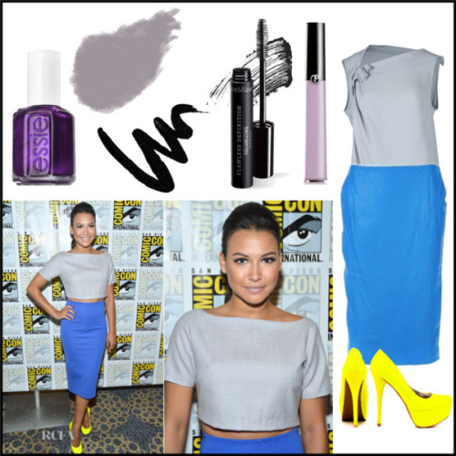 Celeb Style Crush: Naya Rivera - Comic Con by celineegee featuring essie nail polishLong tunic / Veda Soul high heels / Yves Saint Laurent yves saint laurent / Giorgio Armani  / Bobbi Brown Cosmetics sparkly eyeshadow / Bare Escentuals  / Essie  nail polish, $12