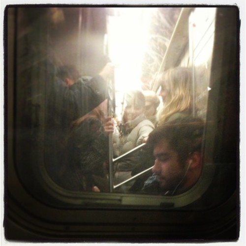 Inside the L train. —