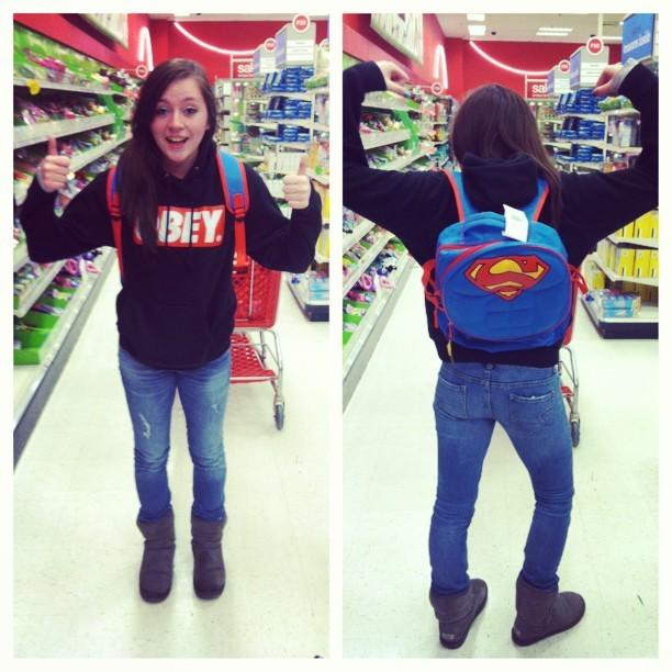 I want this backpack:(( #picstitch #superman #obey #swag #yolo #target #me