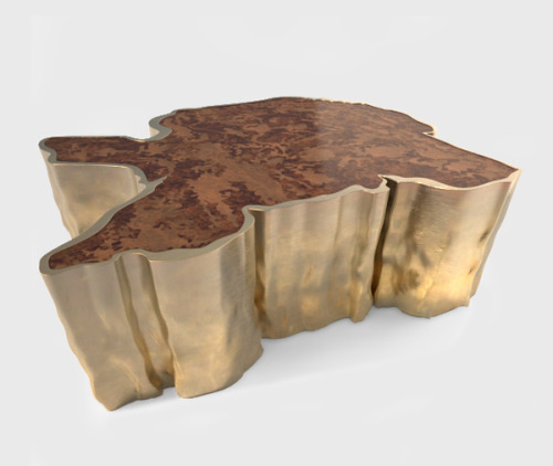 gorgeous! brass & sequoia cocktail table.  new Portuguese line at studio:christensen #brabbu #interiordesign