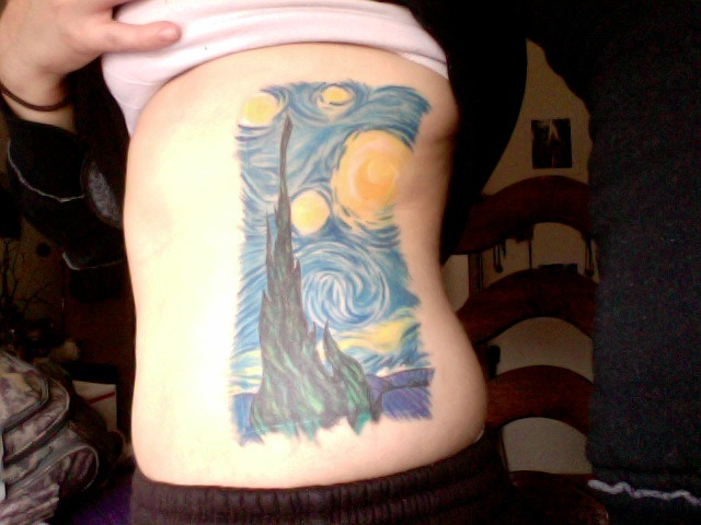 "fuckyeahtattoos:  My tattoo of Vincent Van Gogh's ""Starry Night"" - I mushed things together a bit to get exactly what I wanted.  I had this done in Missoula, MT, USA at Painless Steel by Gina. She did an amazing job - it is WELL worth the pain!"