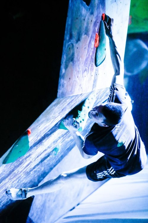 The Slovenia Climbing Team in action. Jernej Kruder starting a new problem.