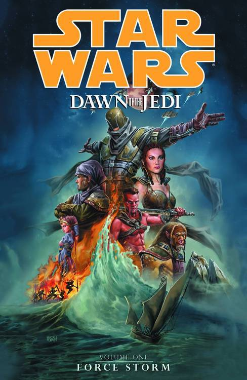Market Monday Star Wars: Dawn of the Jedi - Force Storm TP, art by Jan Duursema  Here begins the tale of the dawn of the Jedi, the Star Wars of 25,000 years ago-before lightsabers, before hyperspace travel, before the Jedi spread throughout the galaxy, when connections to the Force were new. On the planet Tython, a group of beings-scientists, philosophers, and warriors-strive to maintain peace and to balance the mystifying power known as the Force. But a stranger is coming, one who will disrupt the balance with his arrival and his own connection to the Force. Everything in their system is about to change … The doors to the galaxy have been opened!  Shopping Options Amazon IndieBound TFAW