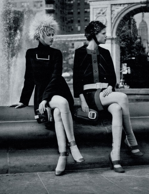 "pradaphne:  Daphne Groeneveld and Lindsey Wixson in ""Scene on the Street"", photographed by Alasdair McLellan for W Magazine August 2011."