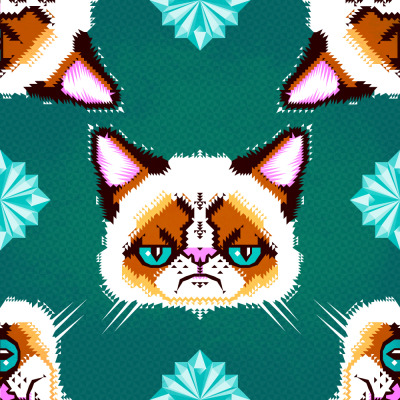 Grumpy Cat Geometric Pattern by chobopop  http://society6.com/chobopop/Grumpy-Cat-Geometric-Pattern_Print