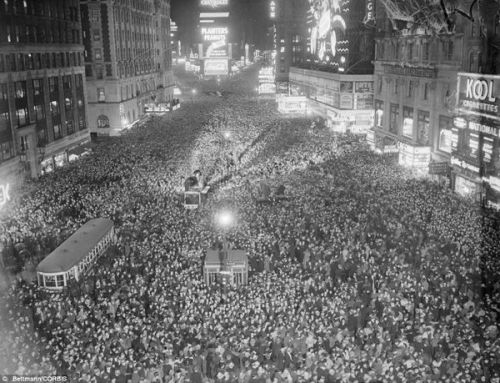 HAPPY NEW YEAR New Years Eve, Times Square, 1937.
