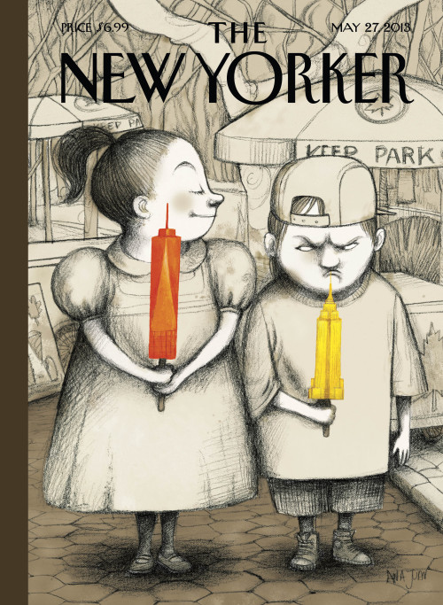 "newyorker:   ""When I heard the news that the Freedom Tower will be now be the highest building in Manhattan, I thought: 'Kids!'"" Ana Juan, the artist behind this week's cover ""Defiance,"" says. ""When you are a kid, you're with your friends, and you say, 'My ice cream is bigger than yours!'"" she adds laughingly. ""It's a kind of a race, even if it makes for a great skyline. Still, I can't help wondering: 'Why do humans need to build higher and higher?' It's a show of power—something that doesn't necessarily hold much interest for me. We need better schools, or a better health-care system, or to take care of the cities we have… but I guess building ever higher is our way to show how great we are.""  Cover of the May 27, 2013 issue. For more on Ana Juan's cover, ""Defiance,"" as well as a slide show of images of the downtown skyline after 9/11 and some of her many children's books illustrations: http://nyr.kr/10IKny1"
