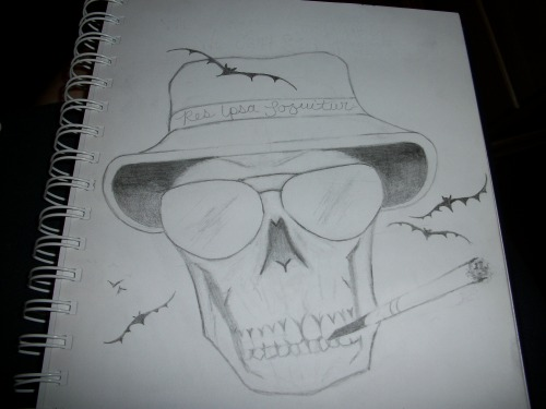 "aerosolmafia:  A drawing I did of the next tatt I'm gettin'. HST inspired, of course! ""Res Ipsa Loquitur"". ~Hunter S. Thompson *please do not change the source. Thank you =)"
