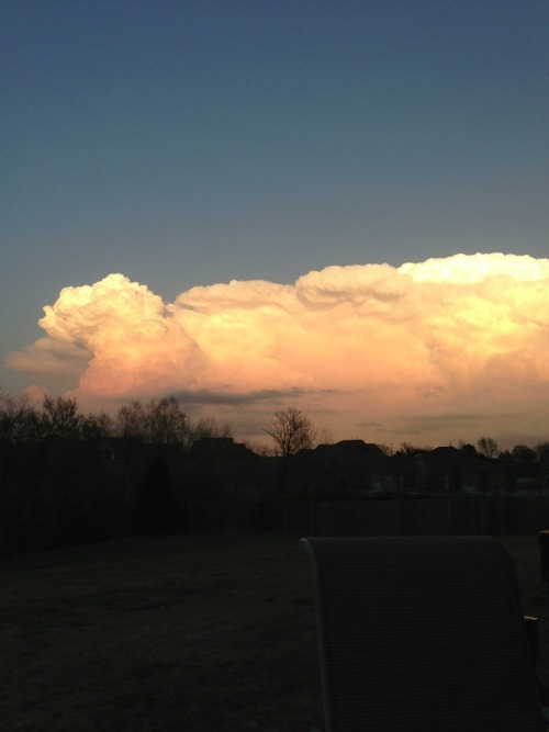 A severe thunderstorm to the east as shot from my backyard near Moore, OK.