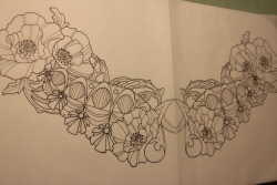 Drawing for Crystal's beautiful chest piece/cover up!  By Melanie