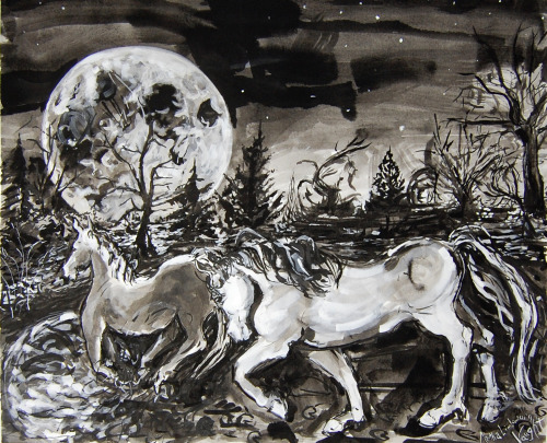 """Moonlit Crossing"", Martha Lindenborg Vaught, inkwash this work and many others on exhibit………    March 2013 art exhibit, works by Martha Lindenborg Vaught, and fellow Stutz Artist JanettMarie Braun St Lukes United Methodist Church Address: 100 W 86th St, Indianapolis, IN 46260  www.stlukesumc.com/"