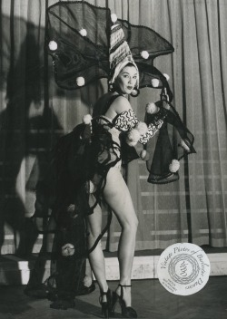 "burlyqnell:  Eleanor Lauderdale: vintage 8x10 photo dated 19 April 1952. Eleanor was a showgirl appearing in the show ""Folies International Revue at the Silver Frolics club.  The costume she is wearing is for a number entitled ""The Black and White Silhouette""."