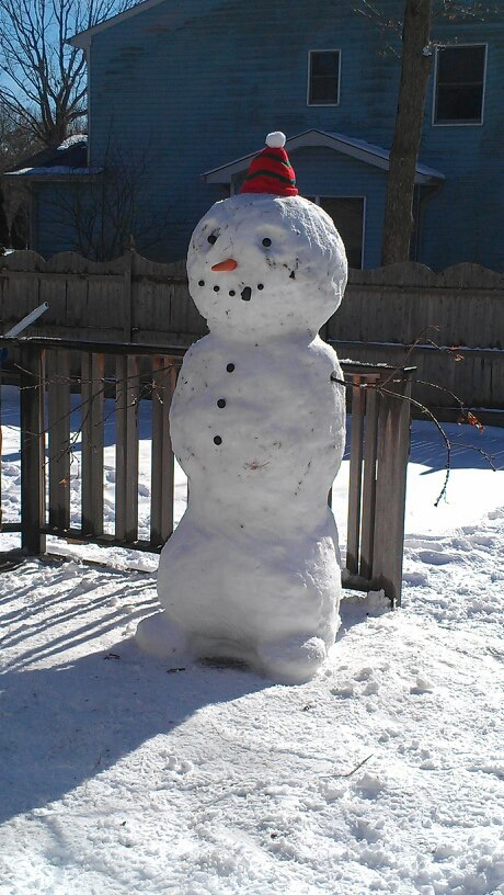 My little cousin didn't understand why snowman don't have feet. My uncle had to fix that