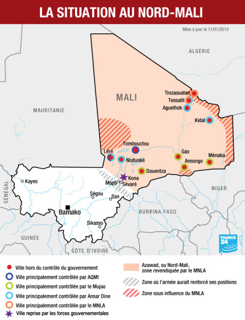 Juan Cole | Informed Comment »  Mali, a country of about 16 million (roughly the demographic size of the Netherlands or a little less populous than Florida), is 5 percent animist, 5 percent Christian, and 90 percent Muslim. But most Malians practice a Sufi and liberal-minded form of the religion, which values music and urbane culture. A small radical group based in the country's vast north has come under Wahhabi influences from Saudi Arabia and wants to impose their fundamentalism on the whole country, attacking Sufi shrines… >continue<  related: French Intervene in Mali  |  Mali crisis: Who's who?