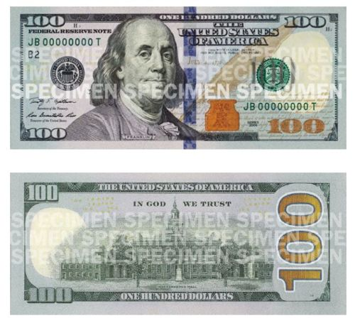 nbcnightlynews:  New $100 bills coming to a bank near you in OctoberStory: http://nbcnews.to/17XlMsi l Photo: Federal Reserve  Poor Richard's News should use the top image as his avatar. The bottom image looks like a photocopy that had liquid paper dumped all over it.