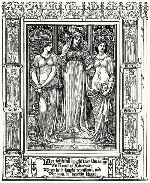 Her faithfull knight faire Una brings  To house of Holinesse  Walter Crane, from Spenser's faerie queene vol. 1, by  Edmund Spenser, London, 1895.  (Source: archive.org)
