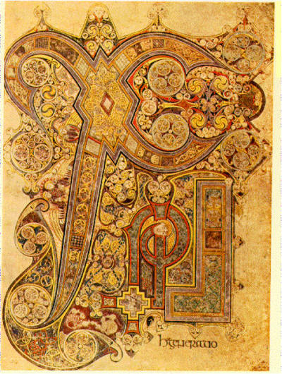 cavetocanvas:  Chi Rho Iota Page from the Book of Kells - made in Iona, Scotland, late 8th or early 9th century.