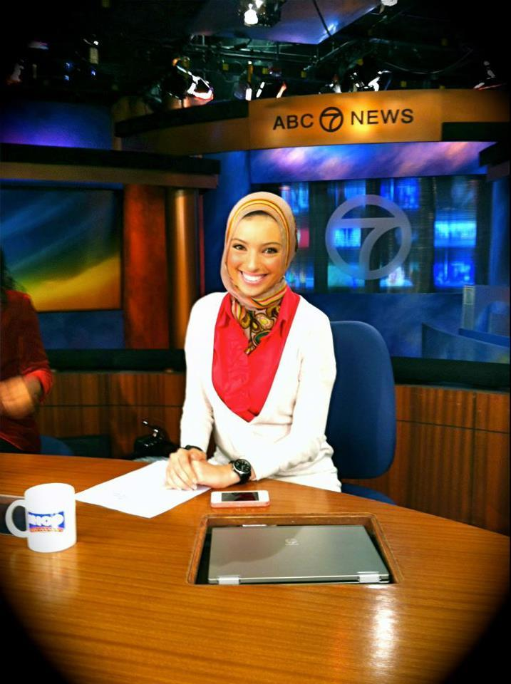 The first Muslim (hijabi) woman news anchor on American television (local Los Angeles ABC).