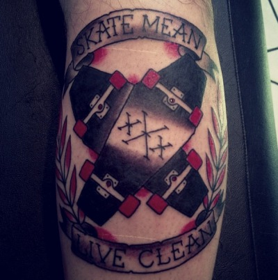 fuckyeahtattoos:  SKATE MEAN X LIVE CLEAN Done by Corey @ Good Ink Tattoo in Waterbury, VT.