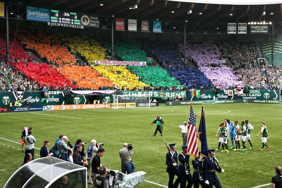 lgbtlaughs:  shawnlevy:  Pride not prejudice #rctid  Portland Timber Soccer Fans Take Colorful Stand Against Homophobia