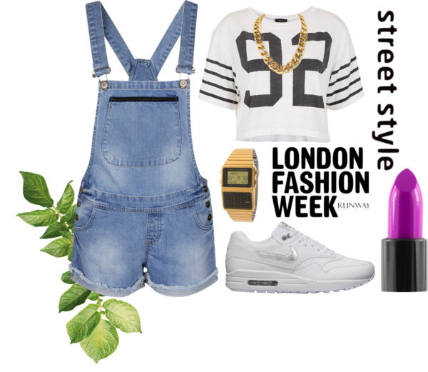 Street by nika-son featuring topshopTopshop  / Jean shorts, $44 / NIKE  / Gold chain necklace / Lip stick, $7.78 / American Apparel DBC611G-1D Casio Data Bank Circa 1998