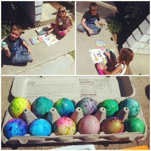 Fun coloring eggs at the office :)  #hoppyday #tiedieeggs #cantwaittohideeggs #lovebeingakid
