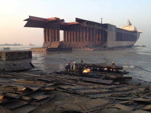 WHERE SHIPS GO TO DIEMy story on the spectacular and horrifying ship breaking yards of Bangladesh, where 40,000 workers slave around the clock demolishing ships with their bare hands. Produced for Channel 7's Sunday Night. Watch it here.For more information about the ship breaking industry, visit the Ship Breaking Platform or the Institute for Global Labour and Human Rights.