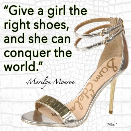 "samedelmanshoes:  Retro chic wisdom from @marilynmonroe pairs perfectly w/ the retro chic ""Allie"" stiletto! http://www.samedelman.com/collection/shoes/allie"