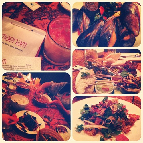 Maenam in #Kitsilano- amazing Thai spread, great drinks & oops!!.. I ate a spicy red hot pepper…. Hehe😭.  (at Maenam)