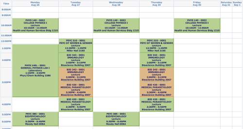 Okay Fall schedule, I see you.  Not lookin' so bad.  Maybe throw in some Abnormal Psych tutoring in there later? Maybe?